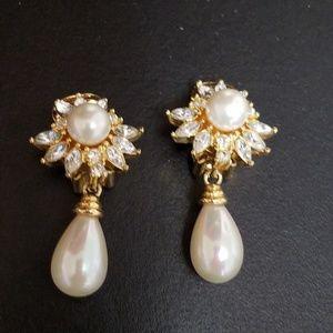 Christian Dior Rhinestone and Pearl Drop Earrings
